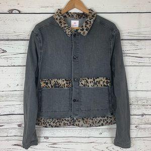 LuLaRoe Kenny Leopard Print Denim Jacket